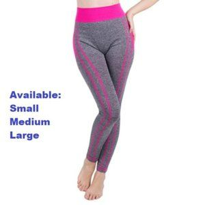 Gray with Pink Design Yoga Pants